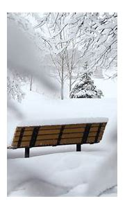 Wooden bench covered in snow HD Wallpaper iPhone 7 Plus ...
