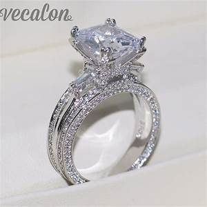 vecalon women big jewelry ring princess cut 10ct aaaaa With big wedding rings for women