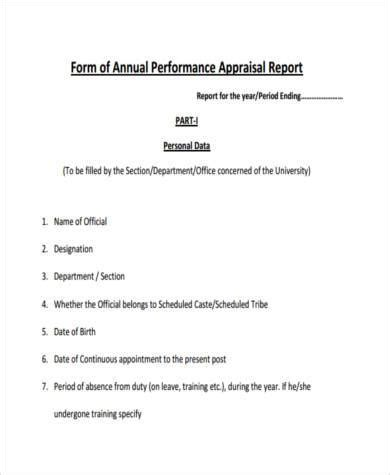 sle annual performance appraisal forms 8 free documents in word pdf