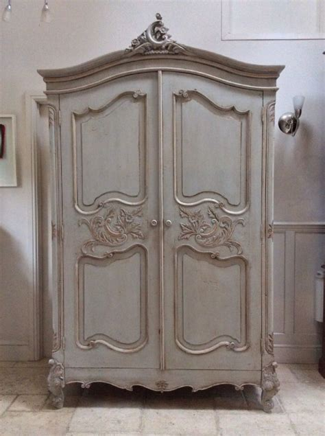 pretty french style carved louis xv painted large grey