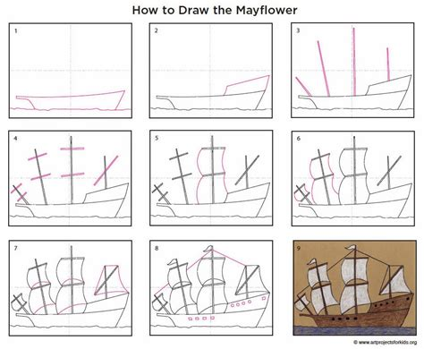 How To Draw A Big Boat Step By Step by Draw A Mayflower Ship Projects For