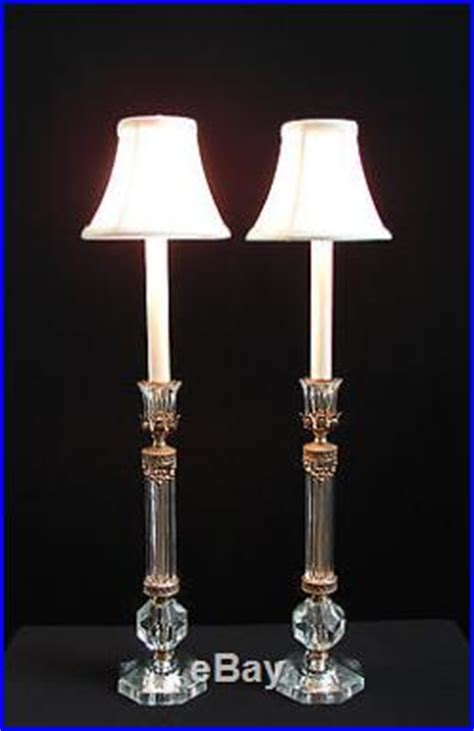 Crystal Candlestick Buffet Lamps by Vintage Pair French Crystal Roses Candlestick Boudoir