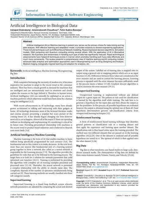 (PDF) Artificial Intelligence in Biological Data