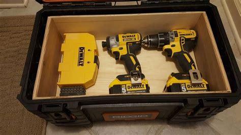 ridgid tool box diy drill storage organizer top shelf