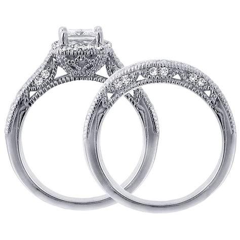 1 carat vintage princess cut diamond wedding ring set for