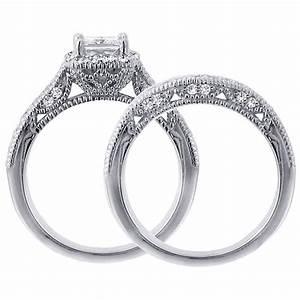 1 carat vintage princess cut diamond wedding ring set for With princess cut diamond wedding ring sets