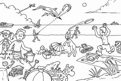 Coloring Beach Pages Summer Vacation Drawing Picnic