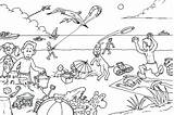 Coloring Beach Pages Summer Vacation Drawing Picnic Disney Children Printable Sheets Colour Drawings Scene Getdrawings Adults Getcolorings Crowded Rocks Scribblefun sketch template