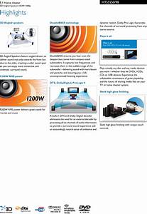 Philips Hts5550  98 5 1 Home Theater User Manual Leaflet