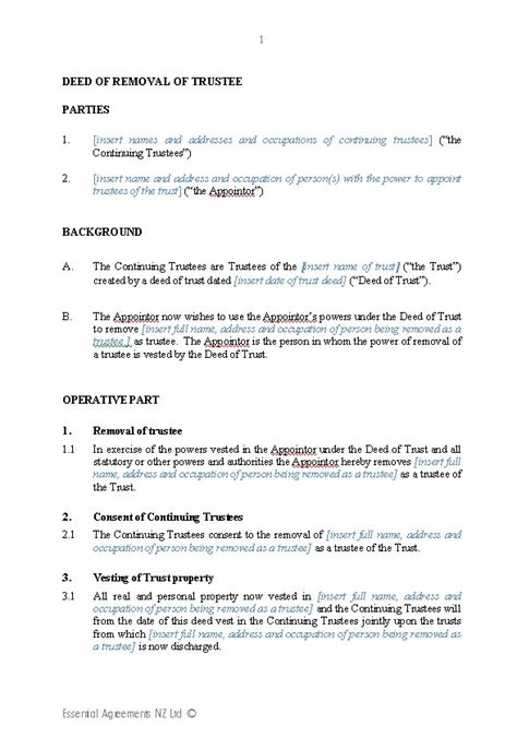 Trust Agreement Template Uk by Wills Trusts Trusts New Zealand Legal Documents
