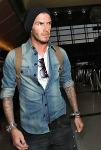 David Beckham Denim Shirt - David Beckham Looks - StyleBistro