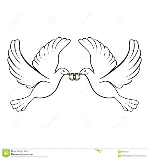 heiratsikonenkarikatur mit zwei tauben vektor abbildung
