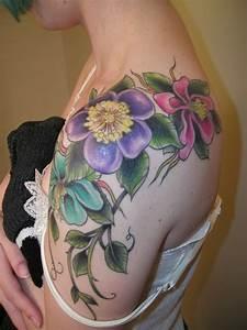 shoulder tattoo pretty flowers img1409 JPG «On shoulder ...