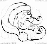 Outline Coloring Face Pages Beard Mustache Hat Clipart Santa Happy Smiley Royalty Goatee Printable Frowny Illustration Template Nortnik Andy Rf sketch template