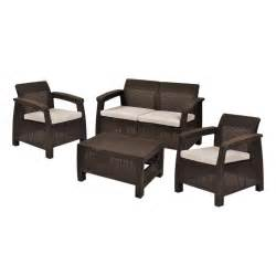 keter corfu brown 4 piece all weather resin patio seating