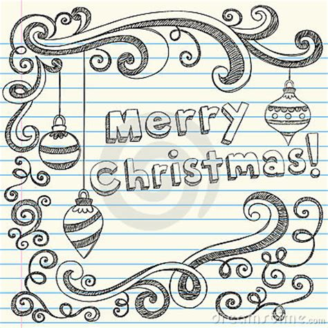 merry christmas hand drawn sketchy doodles royalty