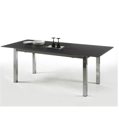 bentini extending dining table black glass and chrome