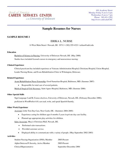Nursing Resume Format Doc by College Sle Resume Tear Tabs Journeyman