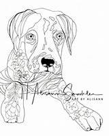 Dane Coloring Puppy Puppies Doodles Dog Doodle sketch template