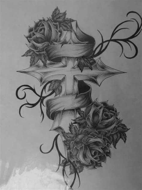 Cross with roses tattoo   TATOOS