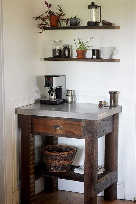 This storage coffee table and stools. 20 Coffee Station Ideas to Make Caffeine Addicts Happy