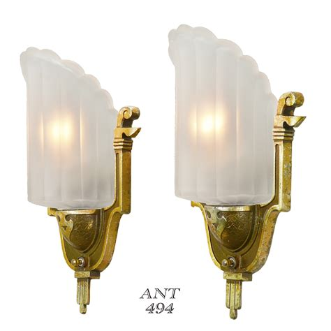 antique deco wall sconces by mid west circa 1935 slip