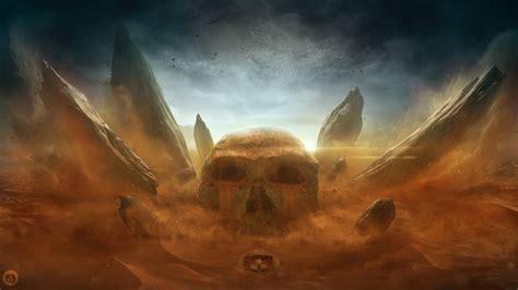 wallpaper desert skull sand storm rocks wallpapermaiden