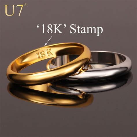 aliexpress buy u7 classic fashion wedding band rings aliexpress buy u7 gold rings with quot 18k quot st
