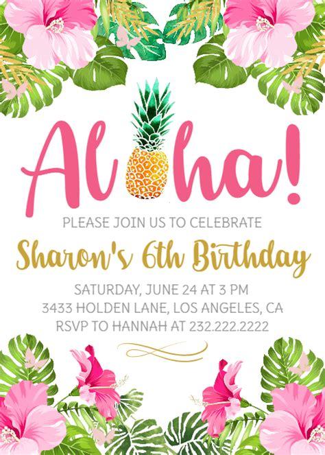 aloha birthday party invitation hawaiian luau invite