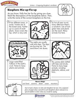 science worksheets for 3rd grade biosphere mix up fix up free science worksheet for kids