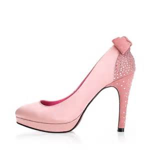 pink wedding shoes high heel bow closed toes rhinestone pink wedding prom shoes 2012 flowerweddingshoes
