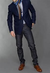 Blue jacket dark wash jeans brown shoes u0026 white thin striped shirt | Menu0026#39;s fashion | Pinterest ...