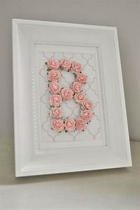 rose personalized initial frame customizable you choose With framed letter art for nursery