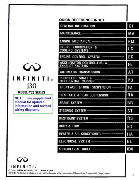 electric and cars manual 1997 infiniti i free book repair manuals infiniti j30 model y32 series 1997 service manual pdf free online