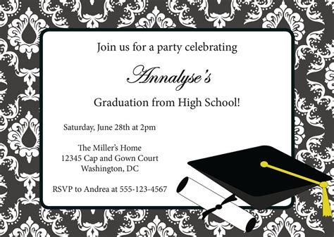 free graduation invitation templates for word graduation invitation templates free best template collection