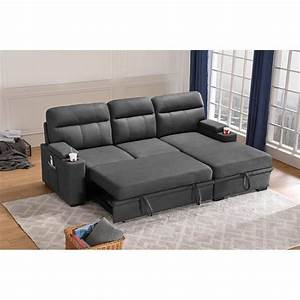 Maklaine, Fabric, Sleeper, Sectional, Sofa, Chaise, With, Storage, In, Gray