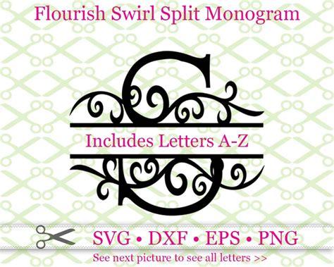swirl flourish split monogram cricut silhouette files svg dxf eps png monogramsvgcom  svg