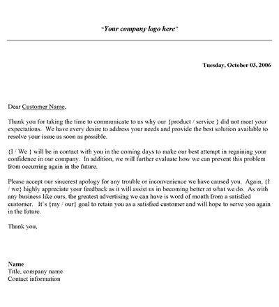 customer complaint response letter template letter