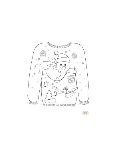 Coloring Sweater Ugly Christmas Pages Snowman Motif