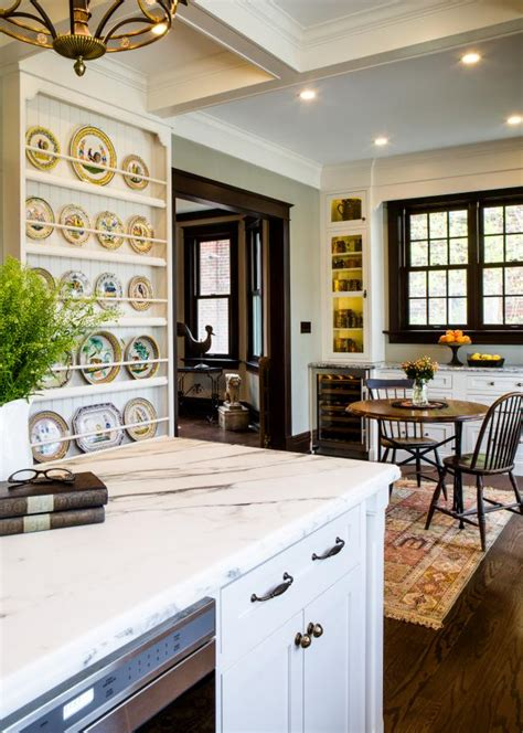 plate display  white french country kitchen hgtv