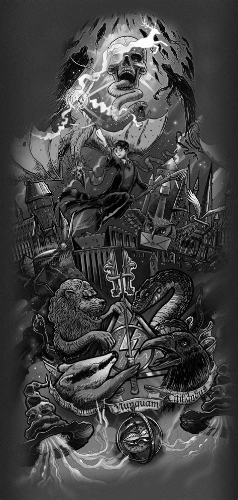 Harry Potter theme tattoo design on Behance | Art and Illustration | Tatuajes de harry potter