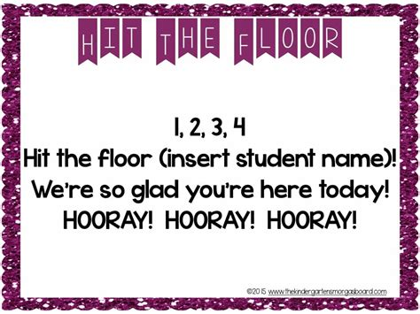 hit the floor greeting smorgievision hit the floor morning meeting the kindergarten smorgasboard