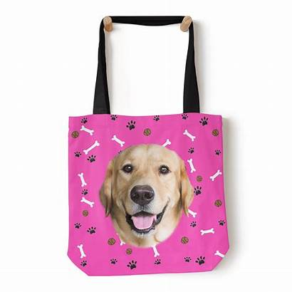 Bag Tote Custom Pink Personalized Canvas Puppy