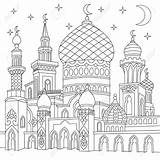 Mosque Outline Template Drawing Coloring sketch template