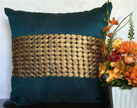 teal pillow cover embroidered  textured copper sequins etsy teal pillows teal pillow