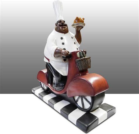 Black Chef Kitchen Decor black chef kitchen statue on bike table decor