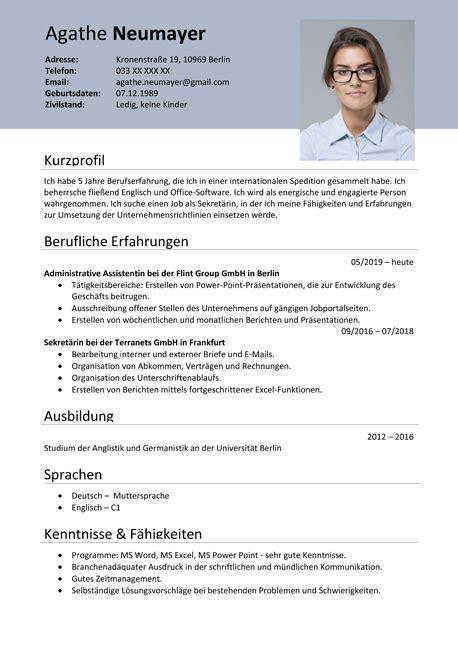 Lebenslauf Auf by Muster Lebenslauf Word E Mail Lebenslauf Muster