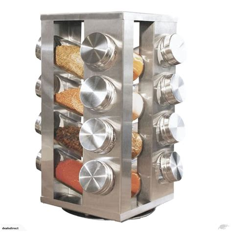 Rotating Spice Holder by Spice Rack Stand Carousel Rotating Glass 16 Jars
