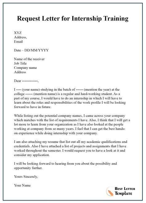 request letter template  internship sample