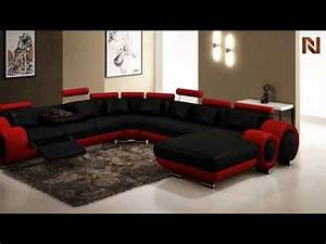 Modern Black And Red Leather Sectional Sofa VGEV4084 4